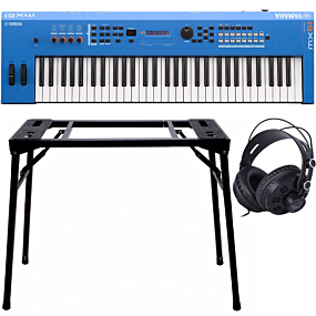 Yamaha MX61 II Blue Music Synthesizer + Keyboard-ständer (DPS-10) & Kopfhörer
