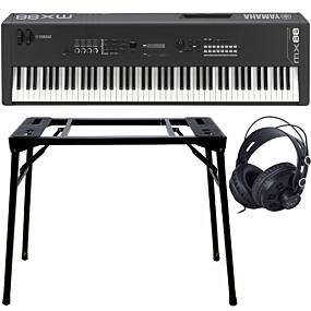 Yamaha MX88 Black Music Synthesizer + Stand (DPS-10) & Headphones