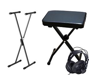 Digitalpiano Zubehörpaket bestehend aus Keyboard-Bank, Keyboard-Ständer und Kopfhörer
