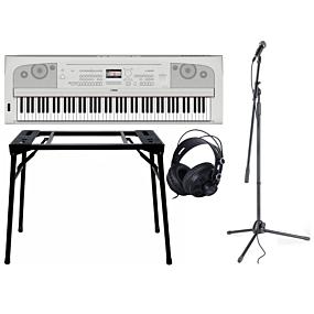 Yamaha DGX-670Hvid + Stativ (DPS-10) & Hovedtelefoner + Mikrofonpakke