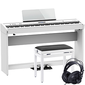 Roland FP-60X White Digital Piano with Complete Setup with Stand, Bench and Headphones