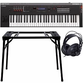 Yamaha MX61 II Black Music Synthesizer + Stand (DPS-10) & Headphones