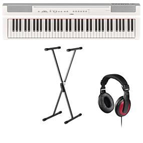 Yamaha P-121 Hvid Digital Piano + Stativ (SKS 01) + Hovedtelefoner (Hama)