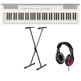 Yamaha P-125 Hvid Digital Piano + Stativ (SKS 01) + Hovedtelefoner (Hama)