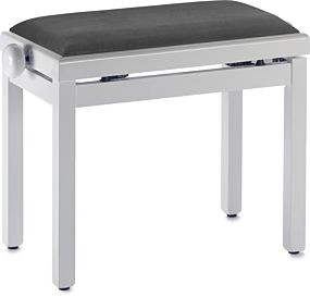 Highgloss white piano bench with black velvet top