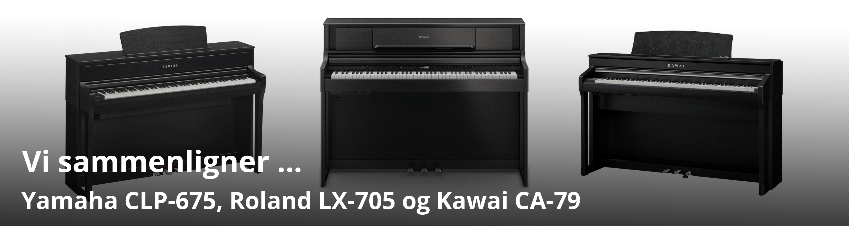 Vi sammenligner Kawai CA 79, Yamaha CLP 675 og Roland LX 705
