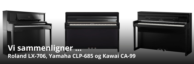 Sammenligning af Kawai CA 99, Yamaha CLP 685 og Roland LX 706