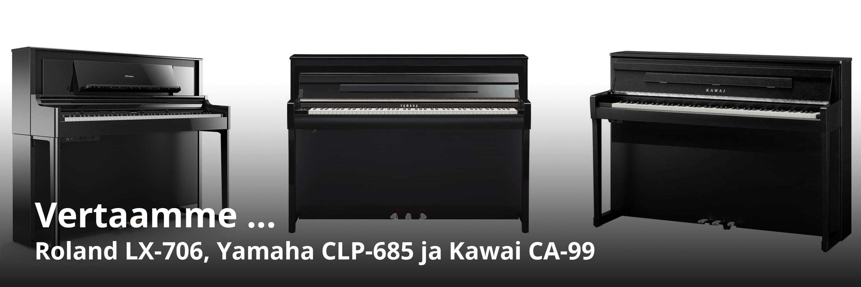 Vertailussa Kawai CA-99, Yamaha CLP-685 ja Roland LX-706