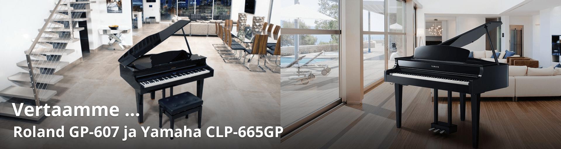 Vertailussa Yamaha CLP-665GP ja Roland GP-607