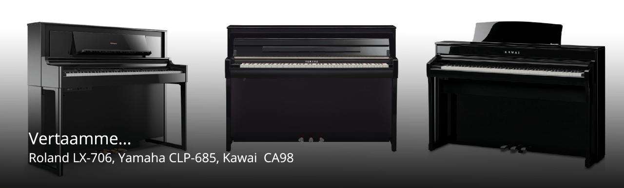 Vertailussa Kawai CA-98, Yamaha CLP-685 ja Roland LX-706