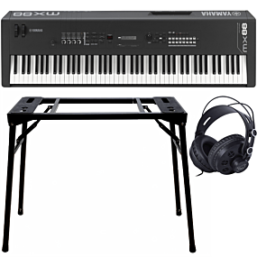 Yamaha MX88 Black Music Synthesizer + Stativ (DPS-10) & Hörlurar